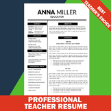 Modern Resume Template, Editable Resume, Elementary, Resum