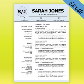 TEACHER RESUME Template for MS Word, Educator Resume DOCX, Elementary CV