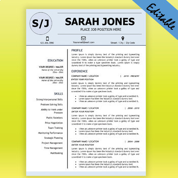 TEACHER RESUME Template For MS Word Educator Resume DOCX