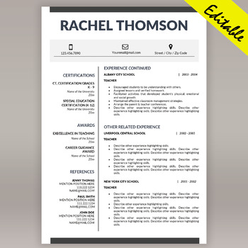 TEACHER RESUME Template for MS Word, Educator CV Download, Cover Letter Template
