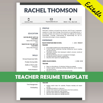TEACHER RESUME Template for MS Word, Educator CV Download, Cover ...