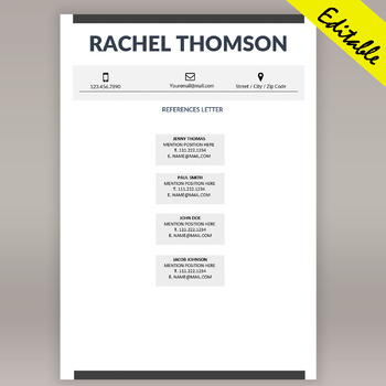 Teacher Resume Template Editable, RESUME Template for MS Word, Cover Letter