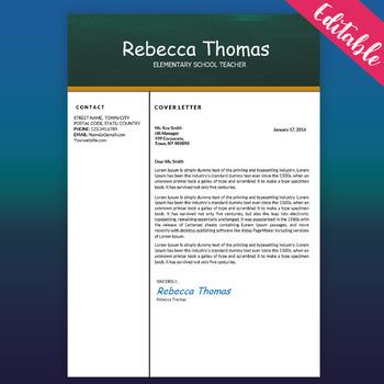 Teacher Resume Template for MS Word, Elementary CV Template, Digital Download