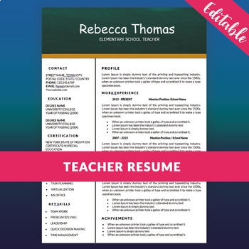 Teacher Resume Template For Ms Word Elementary Cv Template Digital Download