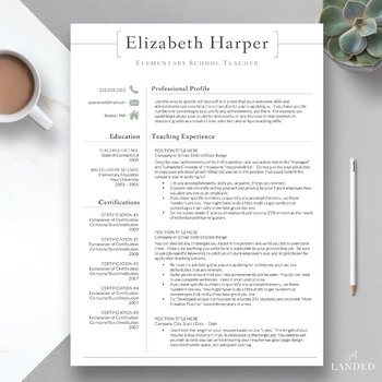 Teacher Resume Template For Word Pages The Harper By Get Landed
