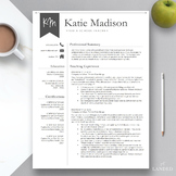 """Teacher Resume Template for Word & Pages: """"The Katie"""""""