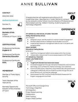 Teacher Resume Template w/ variations