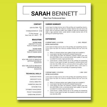 Educator Resume, Teacher Resume Word, Resume Teacher, CV Template