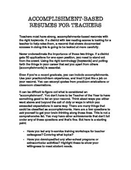 Teacher Resume Writing Guide