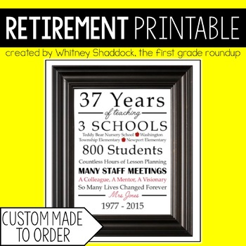 Retirement Gift for Teachers Printable-Custom Order