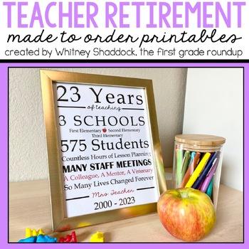 Retirement Gift for Teachers Printable Custom Made To Order