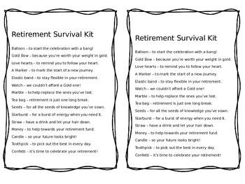 Teacher Retirement Survival Kit and Report Card