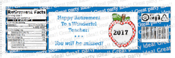 Teacher Retirement Water Bottle Labels in Blue