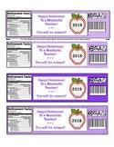 2018 Teacher Retirement Water Bottle Labels in Purple