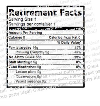 2018 Teacher Retirement Water Bottle Labels in Red