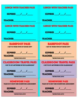 Teacher Reward Passes (all cost the teacher nothing)