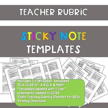 Teacher Rubric Sticky Notes Templates