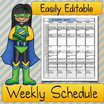 Teacher SCHEDULE: Elementary Classrooms