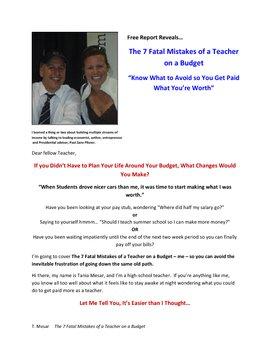 Teacher Salary - The 7 Fatal Mistakes of a Teacher on a Budget