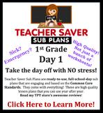 1st Grade Sub Plans (Day 1) - An organized, clear, full da
