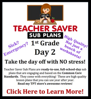 1st Grade Sub Plans (Day 2) - An organized, clear, full day of substitute plans.