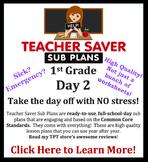 1st Grade Sub Plans (Day 2) - An organized, clear, full da