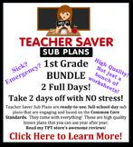 Teacher Saver Sub Plans - 1st Grade Substitute Plans Bundl