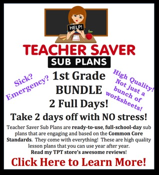 Teacher Saver Sub Plans - 1st Grade Substitute Plans Bundl