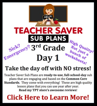 3rd Grade Sub Plans (Day 1) - An organized, clear, full day of substitute plans.