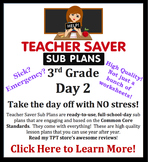 3rd Grade Sub Plans (Day 2) - An organized, clear, full day of substitute plans.