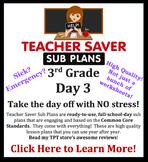 3rd Grade Sub Plans (Day 3) - An organized, clear, full da