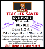 Teacher Saver Sub Plans - 3rd Grade Substitute Plans BUNDLE of 3 Full Days