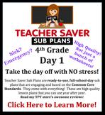 4th Grade Sub Plans (Day 1) - An organized, clear, full da