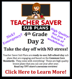 4th Grade Sub Plans (Day 2) - An organized, clear, full day of substitute plans.