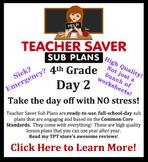 4th Grade Sub Plans (Day 2) - An organized, clear, full da