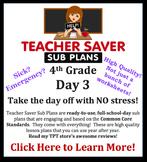 4th Grade Sub Plans (Day 3) - An organized, clear, full da