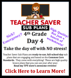 Teacher Saver Sub Plans - 4th Grade Substitute Plan #4 (full day)