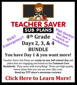 Teacher Saver Sub Plans - 4th Grade Substitute Plans BUNDL