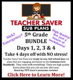 Teacher Saver Sub Plans - 5th Grade Substitute Plans Bundle of 4 Full Days