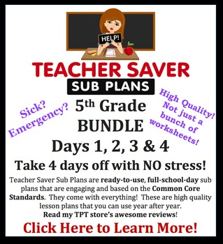 Teacher Saver Sub Plans - 5th Grade Substitute Plans Bundle of 4 Full Days