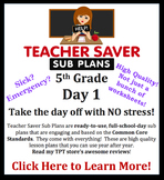 5th Grade Sub Plans (Day 1) - An organized, clear, full day of substitute plans.