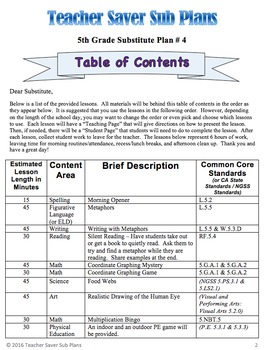 5th Grade Sub Plans (Day 4) - An organized, clear, full day of substitute plans.
