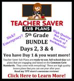 Teacher Saver Sub Plans - 5th Grade Substitute Plans BUNDLE (Day 2,3,&4)