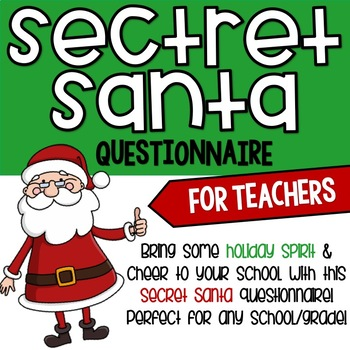 photograph relating to Secret Santa Questionnaire Printable named Top secret Santa Questionnaire Worksheets Schooling Elements TpT