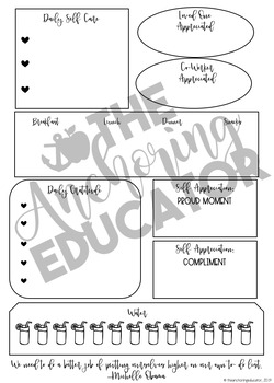 Teacher Self Care and Gratitude Planner