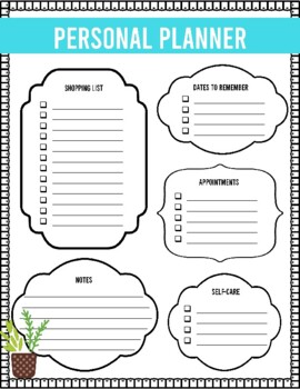 Teacher Self-Care: Weekly Planning & Organizer Sheets