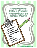 Teacher Speech Referral Form