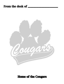 Teacher/Staff Memo Home of the Cougars