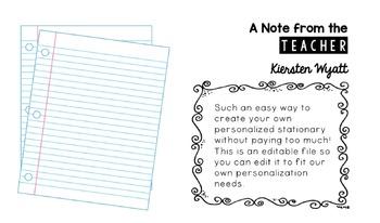 Teacher Stationary (Editable)