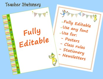 Teacher Stationery - Coordinates with Sock Monkey Classroom Theme